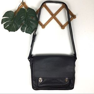 B Makowsky | Black Leather Crossbody Messenger Bag